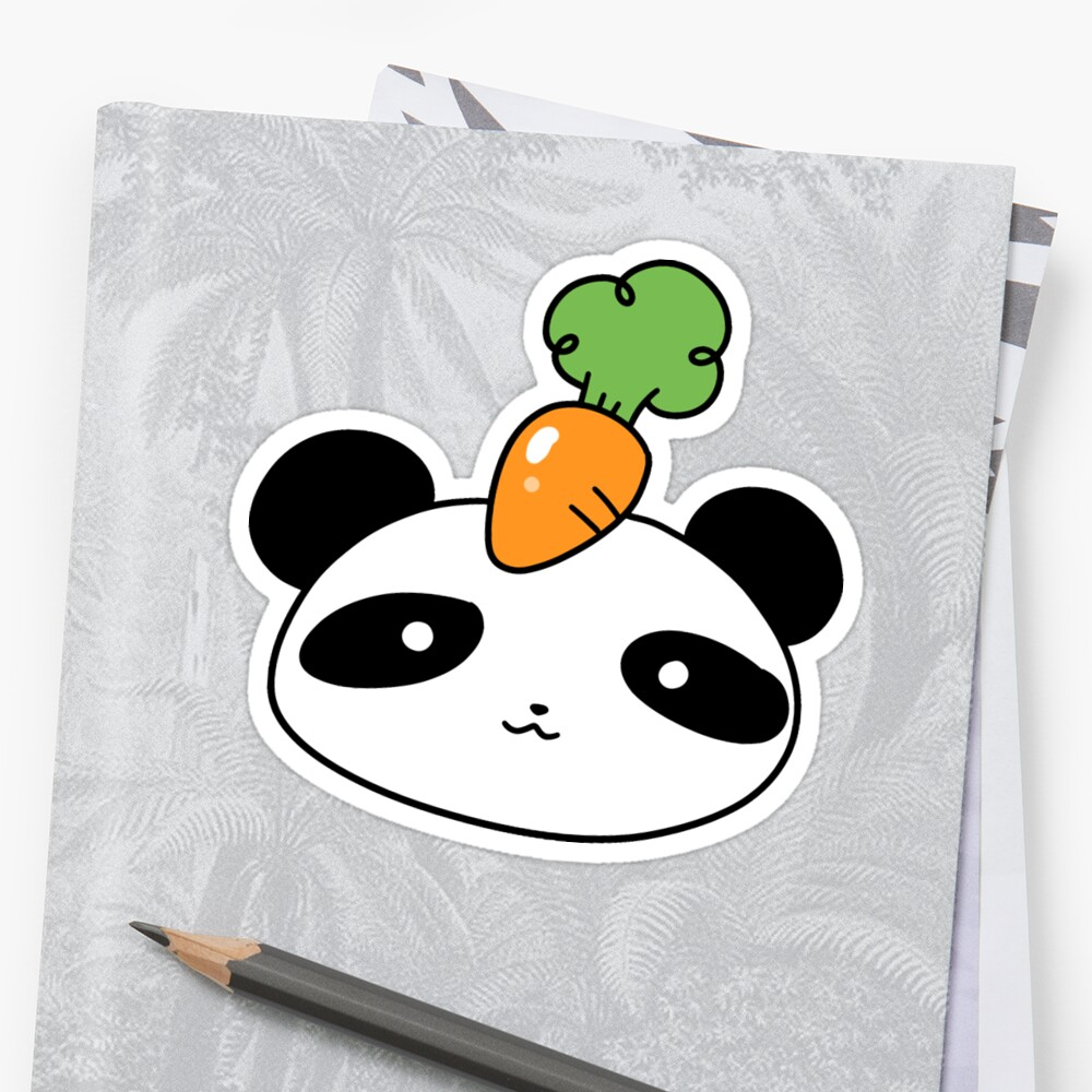 Carrot Panda Face Sticker Front