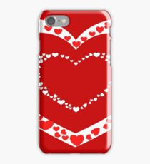 Red hearts with red background iPhone Case/Skin
