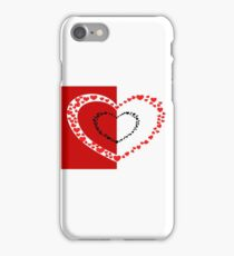Small red hearts with red and white background iPhone Case/Skin