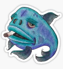 Bad Fish Smoking Joint Sticker