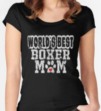 World's Best Boxer Mom Dog Lover Distressed Women's Fitted Scoop T-Shirt