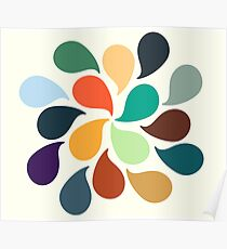 Colorful Water Drops Poster