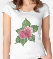Panted Vintage Roses Pattern Women's Fitted Scoop T-Shirt