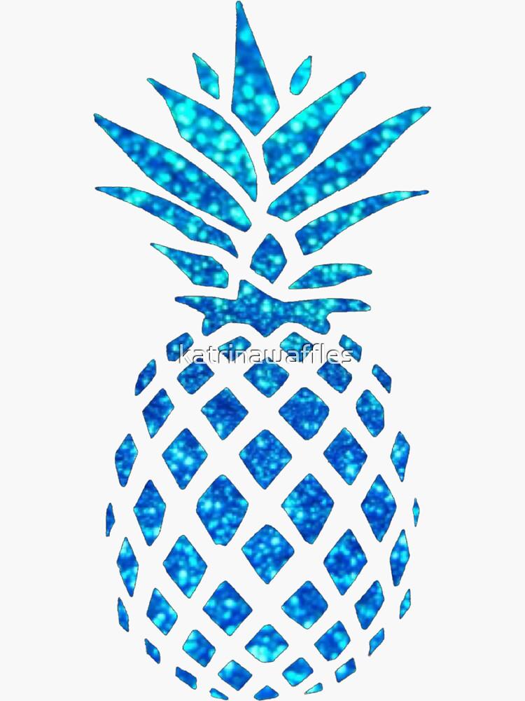 Blue Glitter Sparkle Ananas von katrinawaffles