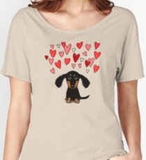 Cute Dachshund Puppy with Valentine Hearts Women's Relaxed Fit T-Shirt