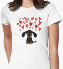 Cute Dachshund Puppy with Valentine Hearts Women's Fitted T-Shirt