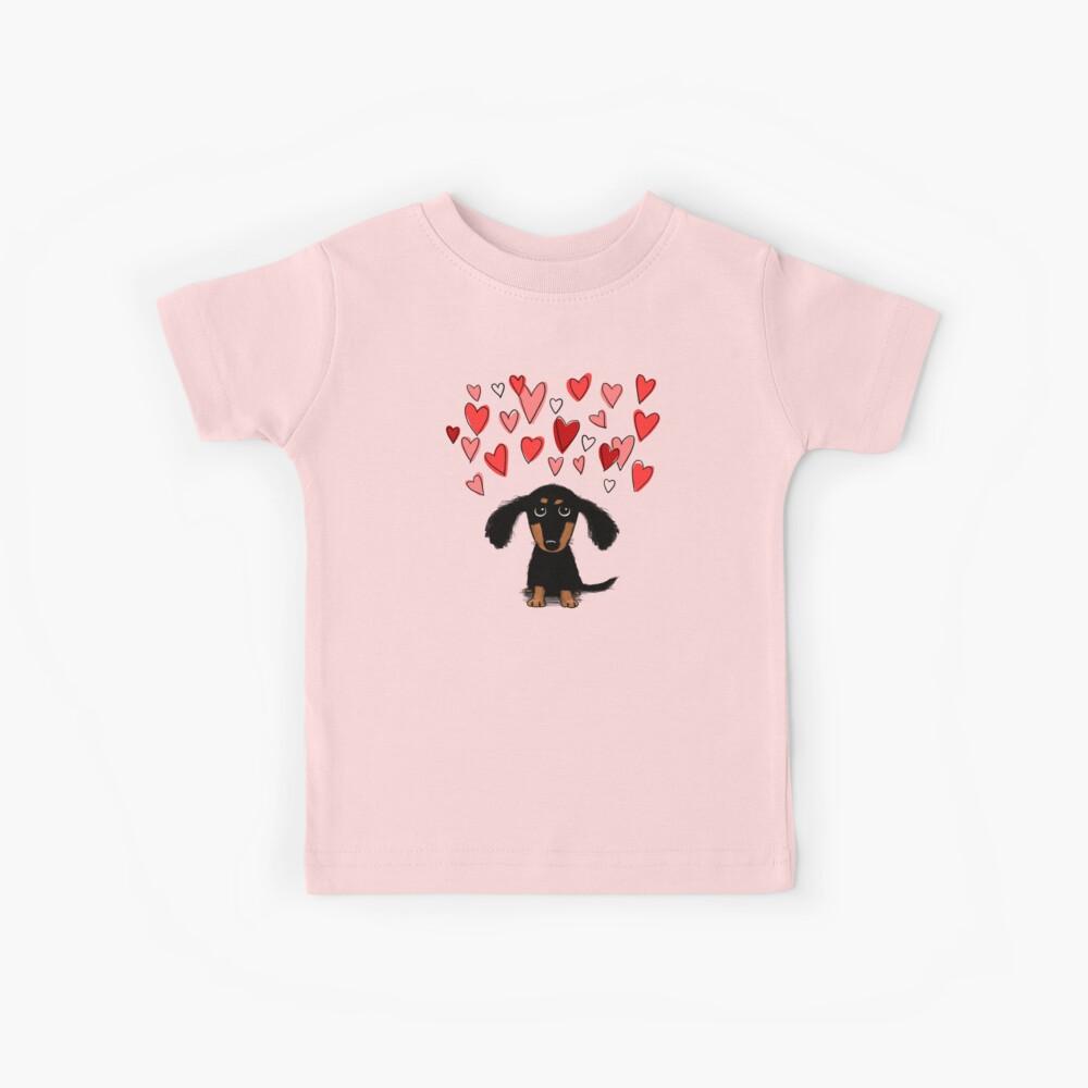 Cute Dachshund Puppy with Valentine Hearts Kids T-Shirt