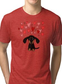 Cute Dachshund Puppy with Valentine Hearts Tri-blend T-Shirt