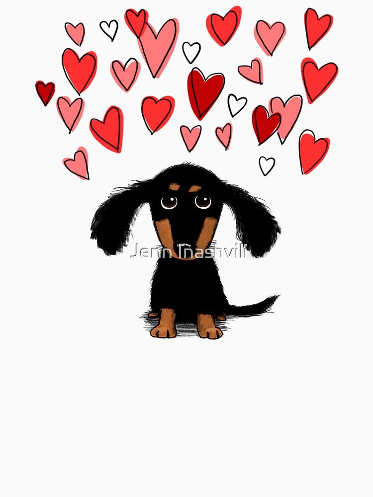 Lindo perrito Dachshund con corazones de San Valentín de ShortCoffee