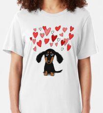 Cute Dachshund Puppy with Valentine Hearts Slim Fit T-Shirt