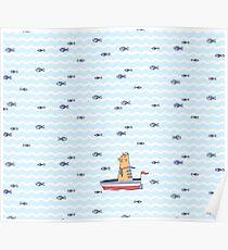 Salty sailor cat. Poster