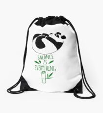Balance Is Everything! Tumbling panda. Drawstring Bag