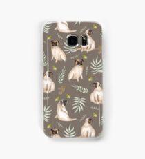 Pugs and butterflies. Brown pattern Samsung Galaxy Case/Skin