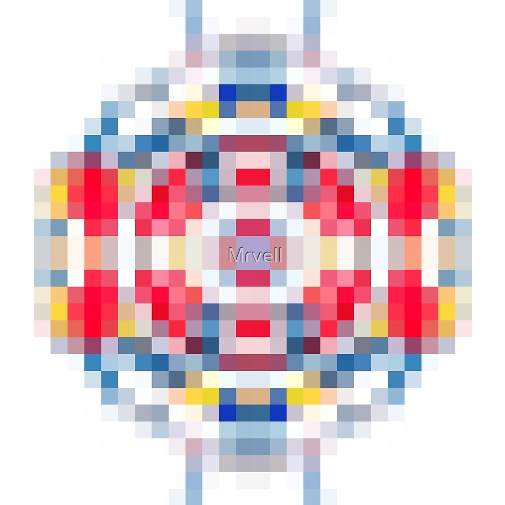 geometric square pattern pixel abstract in red blue yellow by Mrvell