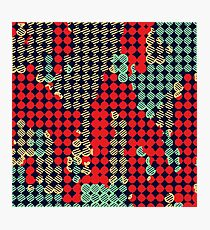 circle pattern graffiti drawing abstract in red and blue Photographic Print
