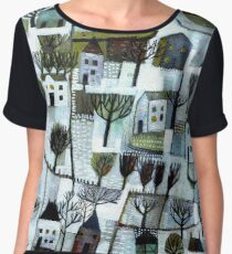 Walking to you. A winter scene. Women's Chiffon Top