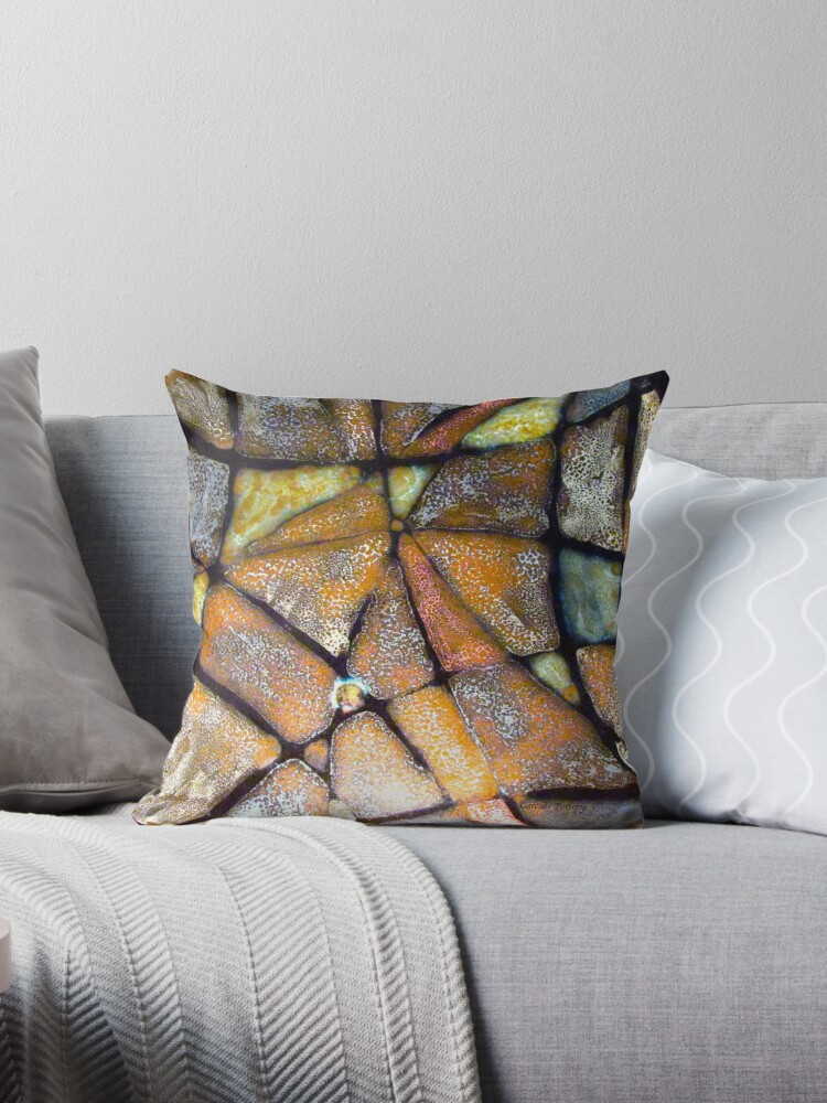Moscaic Glaze 2 Throw Pillow by CarcoarPottery