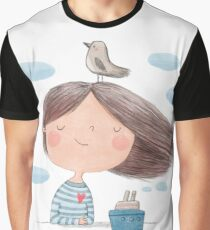 Cute cartoon little girl with bird and ship  illustration Graphic T-Shirt