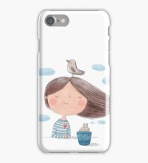 Cute cartoon little girl with bird and ship  illustration iPhone Case/Skin