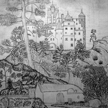 My pencil drawing of Bran Castle (Dracula) Romania 15th century by ZipaC
