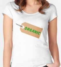 Organic Cardboard Tag Label With String Women's Fitted Scoop T-Shirt