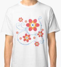 rot-orange-weiß-blaue Blumen mit blauen Punktspiralen Classic T-Shirt