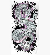 Grey Splash DragonTattoo  Poster