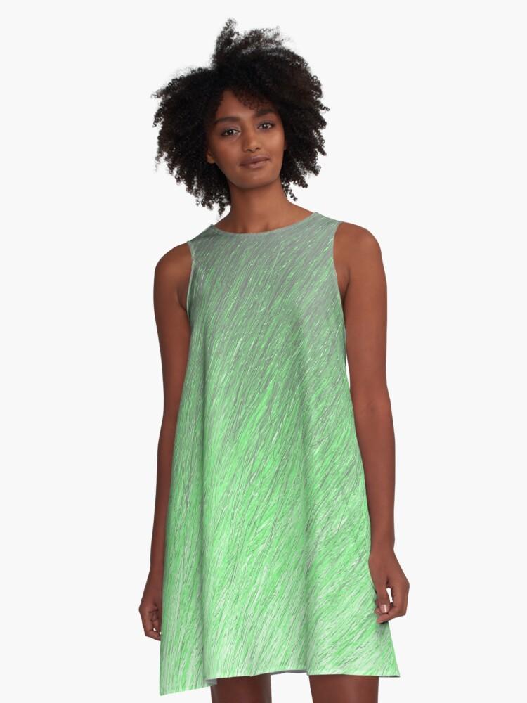 Drifting Greens through Pastel A-Line Dress Front
