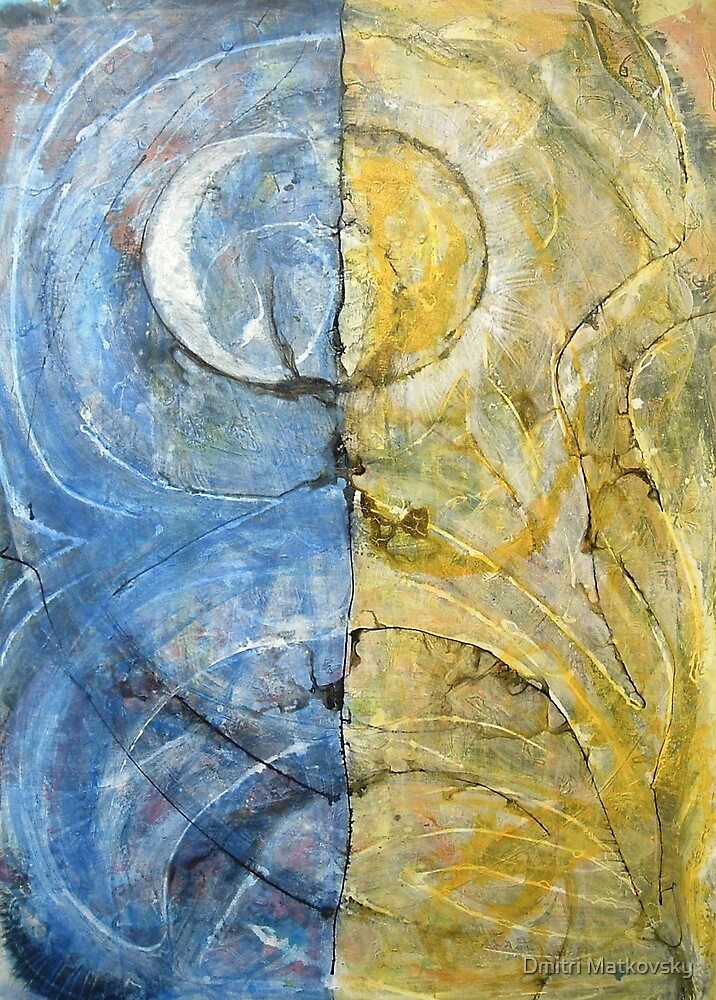 Between Sun and Moon, Original Abstract painting by Dmitri Matkovsky