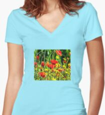Spring Flowers Women's Fitted V-Neck T-Shirt