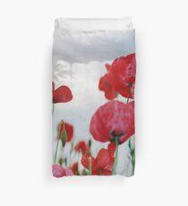 Field of Poppies Against Grey Sky  Duvet Cover