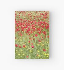Meadow With Beautiful Bright Red Poppy Flowers Hardcover Journal