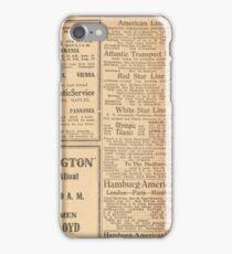 1912 Titanic return voyage newspaper advert clipping unaltered iPhone Case/Skin