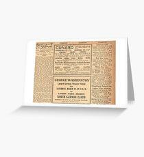 1912 Titanic return voyage newspaper advert clipping unaltered Greeting Card