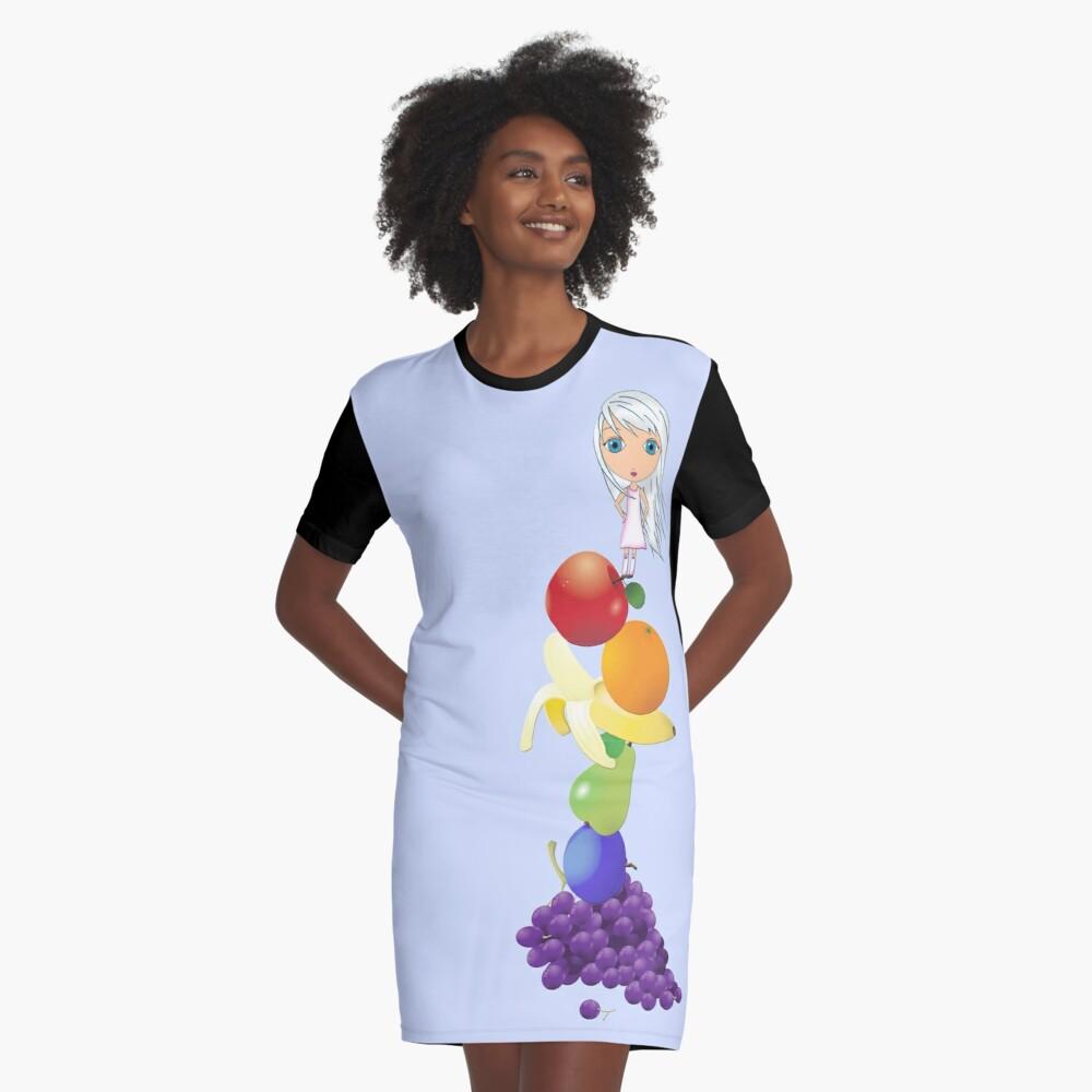 The Yummiest of Rainbows Graphic T-Shirt Dress