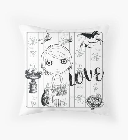 Love Birds - DIY Color! Throw Pillow