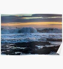 Rough Seas at Sunset Poster