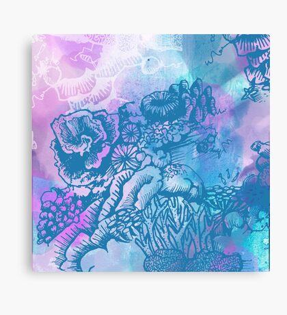 Coral Garden Watercolour Purple Canvas Print