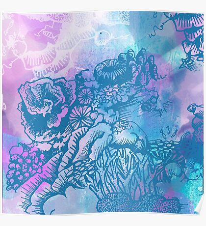 Coral Garden Watercolour Purple Poster