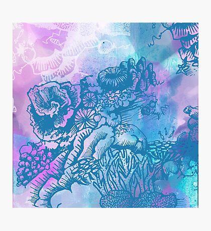Coral Garden Watercolour Purple Photographic Print