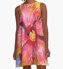 Yellow and Pink Groovy Hibiscus A-Line Dress