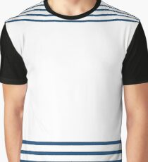 Trendy Nautical Navy White Stripes Design Graphic T-Shirt