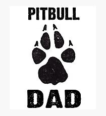 Pitbull Dad Dog Paw Prints Photographic Print
