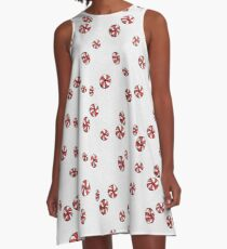 Peppermint Candy in White A-Line Dress