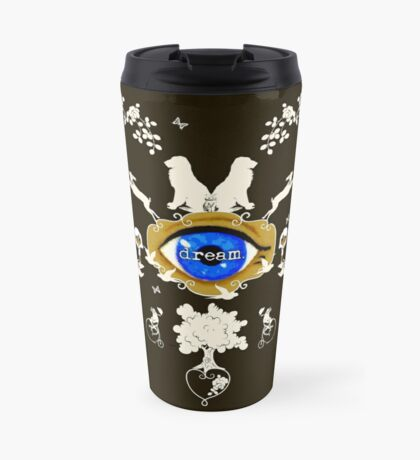 I Dream In Color - Light Silhouettes on Dark Brown Travel Mug