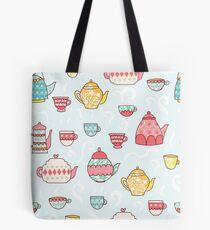 Teapots and Teacups Cute Tea Pattern Tote Bag