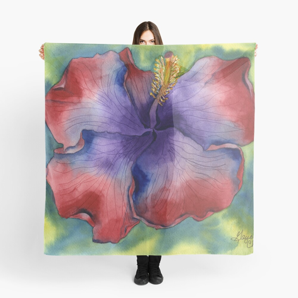 Red and Purple Groovy Hibiscus Scarf Front