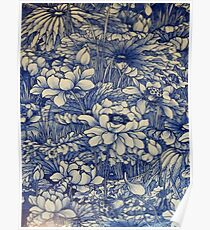 chinese ceramic blue Poster