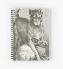 Dog defending a Rabbit Spiral Notebook