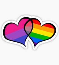BISEXUAL PRIDE FLAG GAY PRIDE FLAG HEARTS Sticker